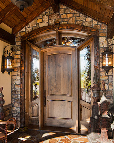 Custom entry wood door with sidelights