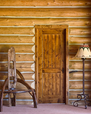 solid wood door in log home