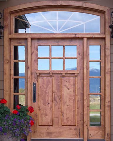 Craftsman Entry Door With Shelf And Sidelights
